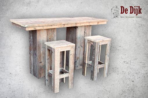 Steigerhouten tafel hoog/lang